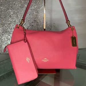 COACH Mia Shoulder Pink Leather Bag / Wallet Set